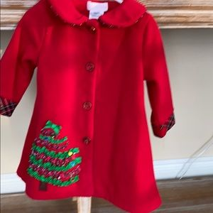 Red fleece Christmas jacket with matching hat